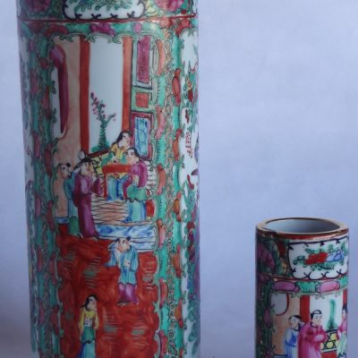 Pair of Chinese porcelain vases in famille rose motif