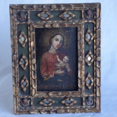 Antique hand-pained icon' The Virgin and Child. By Vasquez Ceballos. Circa 1650.