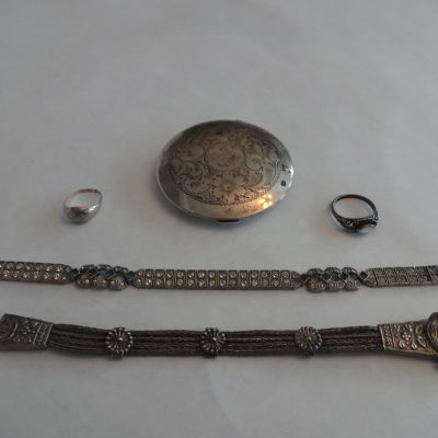 Collection of antique silver jewelry/compact