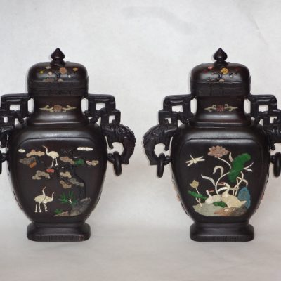Pair of exquisite Chinese hardwood vases, decorated with applied shell and stone.