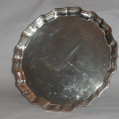 Heavy antique sterling silver tea tray with scalloped edge. 13.75 inches diameter