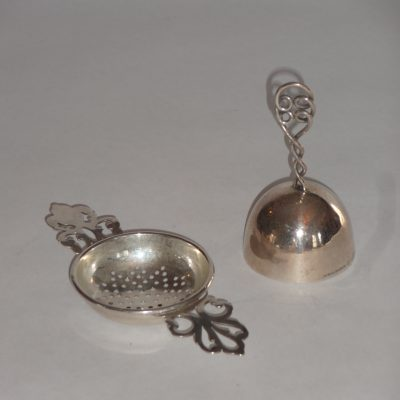 Sterling tea strainer and teatime bell