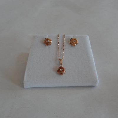 Gold and diamond necklace and matching earrings