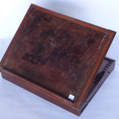Handsome convertible lap desk. Mahogany with leather top