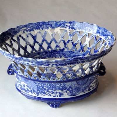 Antique Flo Blue porcelain bowl by Copeland, circa 1890.