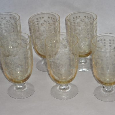 Set of six old champagne-coloured etched glasses