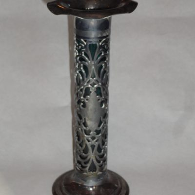 Antique teal glass vase with silver-plate overlay in armorial motif