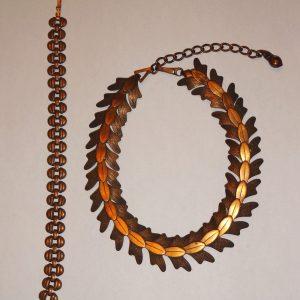 Vintage copper bracelet and necklace