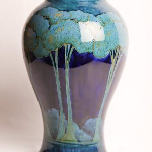 "40. William Moorcroft Pottery vase  'moonlit blue' pattern.  Burslem factory. Green painted  signature. 14 3/4"" H.  Early 20th Century."