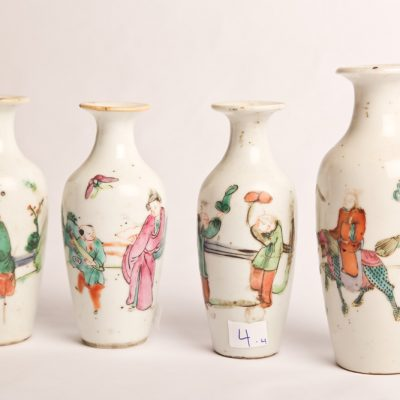 4.   Bud vases - set of four.   Chinese  porcelain - famille rose  style.  Early 19th century.