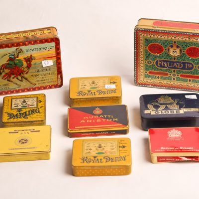 66   Cigarette tins collection.      Mainly  Egyptian.  Dimitrino, Fouad,  and various makers.  Early 20th century.