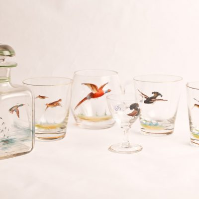 65   Glassware set.  Hand painted  in game bird motif.  Specifically made as a serving  set for after a hunting  expedition.    Late 19th  century.