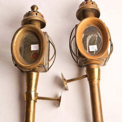 79   Carriage oil lanterns.  Brass   and  glass construction. Pair.  Late 19th  century.