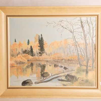 "122   P. Bower - oil on board.  ""Doc  Smith's Place - Hazel Creek  Manitoba""."