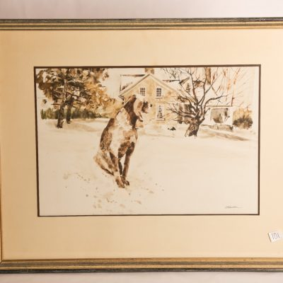101   G. Balbar - watercolour.  Dog   deep in thought.  Framed.