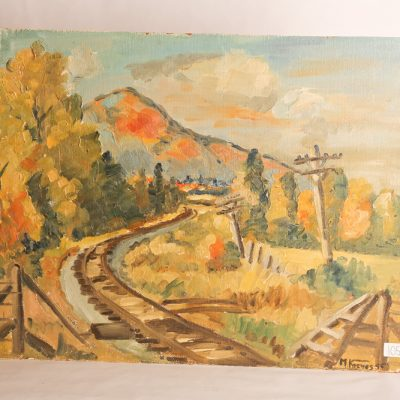 "105   Marie Louise Kreyes (MSA    A22    1925-83).  Oil on board.  ""Northern NB Landscape"".  Dated 1956."