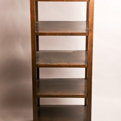 43   Open oak bookcase.  Arts and crafts style.  Five tiers.  Early 20th century.
