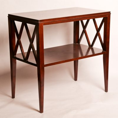 60   Side table - mahogany.          Lattice work sides, lower  shelf, and tapered legs.  Early 20th century.