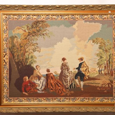82   Needlework tapestry.  English classical scene in gold frame. Mid 20th century.