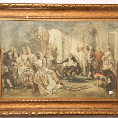112   Antique colour print.  French       chamber scene.  Gilt frame.