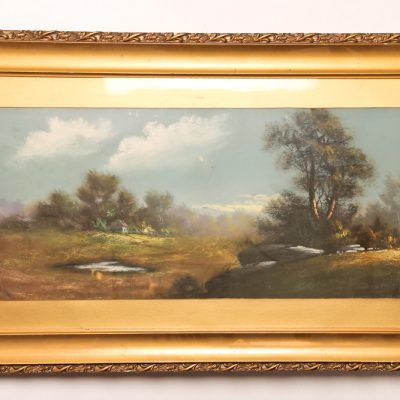 109   William Chandler - coloured pastel.  Large landscape.  Framed. Early 20th century.