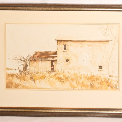 108   G. Balbar - watercolour.  Old    country house.  Framed.