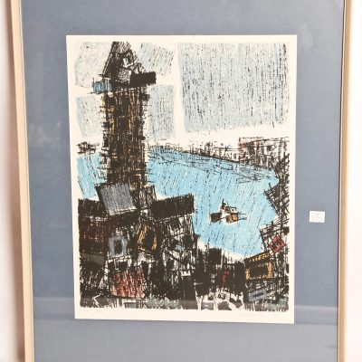 "115   Eli Bornstein - coloured        lithograph.  ""The Tower"".  1955."