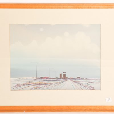 "119   R.N. Hurley (FCA)         watercolour.  Manitoba grain elevators in  winter.  12 x 16""."
