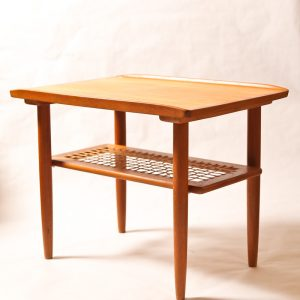 35.  Set of tables. Teakwood construction. Coffee table with three lamp tables. Mid 20th century.