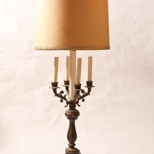62.  French bronze? table lamp.  Torchiere style with four candle holders and cloth shade. Early 20th century.