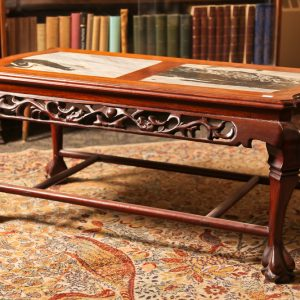 25A. Chinese rosewood coffee table.  Hand carved in dragon motif and with marble inserts. Mid 20th century.