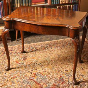 29.  Burl walnut parlour table.  Cabriole legs in shell motif. Mid 19th century.
