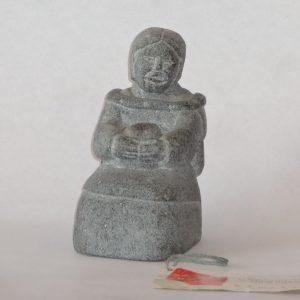 135.  Siaja (Siaja Quarak Ainalik) - soapstone carving. Grey grained. Women. Signed.