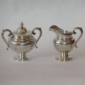 48A. Sterling silver cream and sugar. Both handled. Birks Co. Early 20th century.