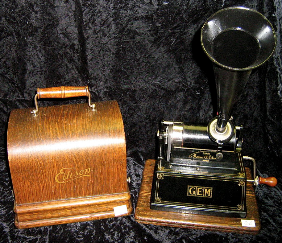 Rare Antique Gem Table Model Cylinder Phonograph With Large And Small Horns By
